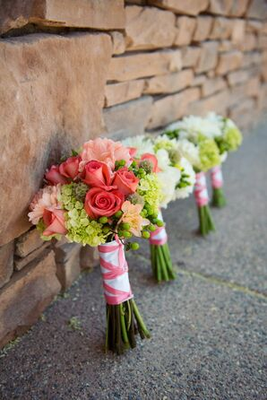 Pale Coral and Light Green Bridal Bouquet