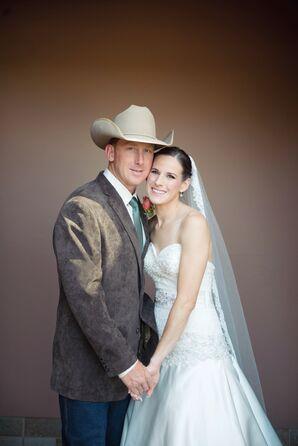 Traditional Bride with Western Cowboy Groom