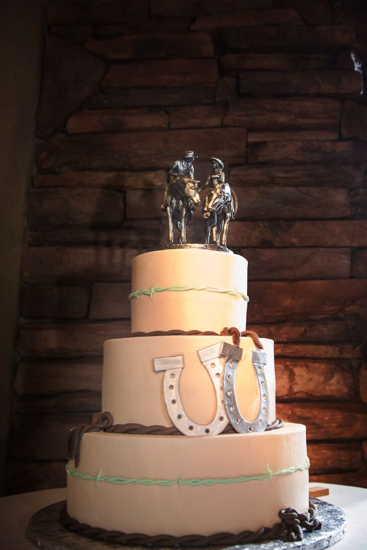 Wedding Cake with Horseshoes and Western Horse Toppers