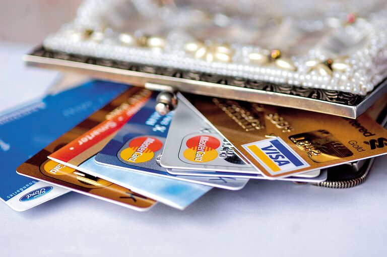 credit cards in a purse at bachelorette party