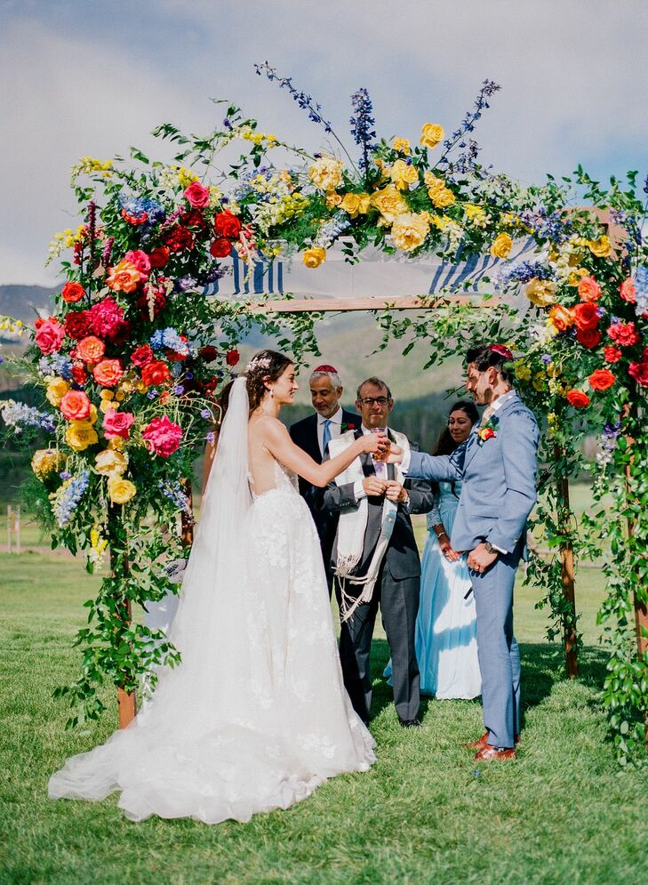 Couple Under Chuppah at Jewish Wedding Ceremony in Colorado