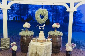 Ivory Tiered Wedding Cake With Pearls
