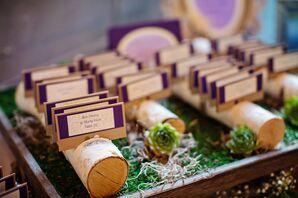 Purple Rustic Escort Cards in Birch Log Display