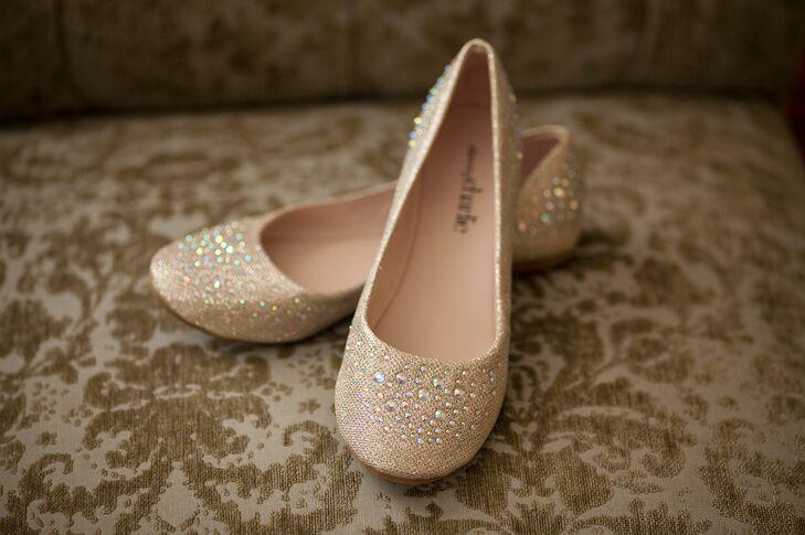 Gold Rhinestone Accented Wedding Shoes