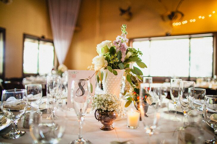 Low Baby's Breath and Rose Centerpieces