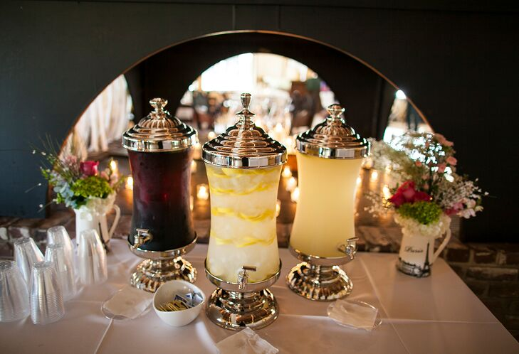 Clear Glass and Metallic Reception Drink Dispensers