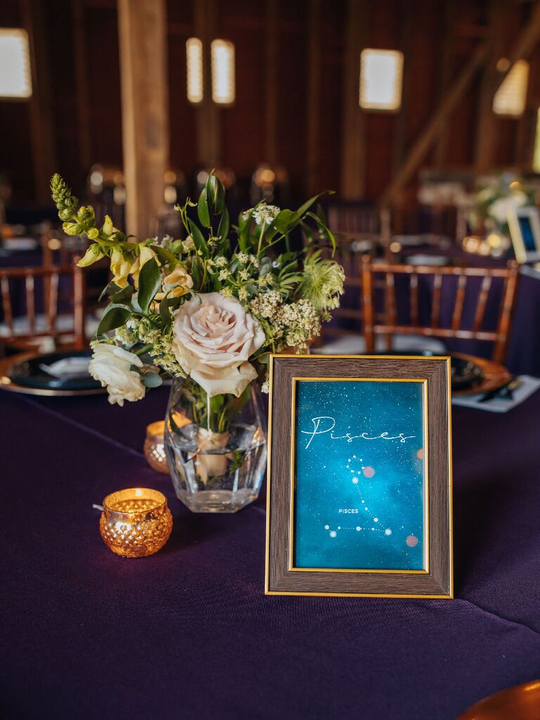 Pisces zodiac table number at celestial wedding reception