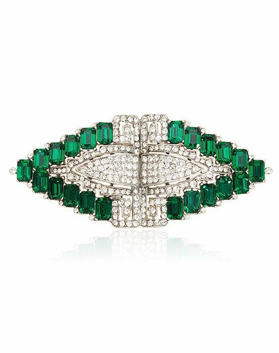Thomas Laine Bridal Crystal and Emerald Deco Brooch Wedding  photo