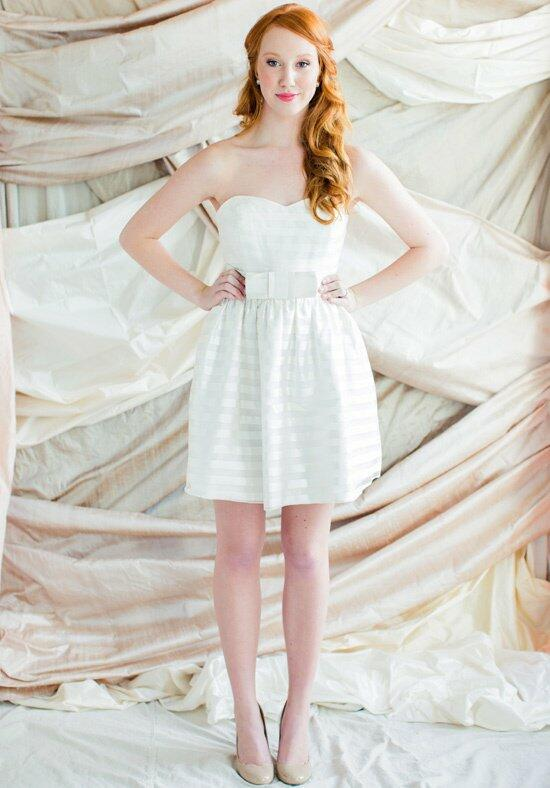 Kate McDonald Little White Dress Organza Stripe Wedding Dress photo