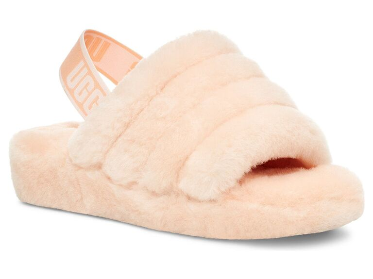 nordstrom light pink fur ugg bride slippers