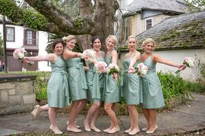 Sage Ann Taylor V-Neck Bridesmaids Dresses