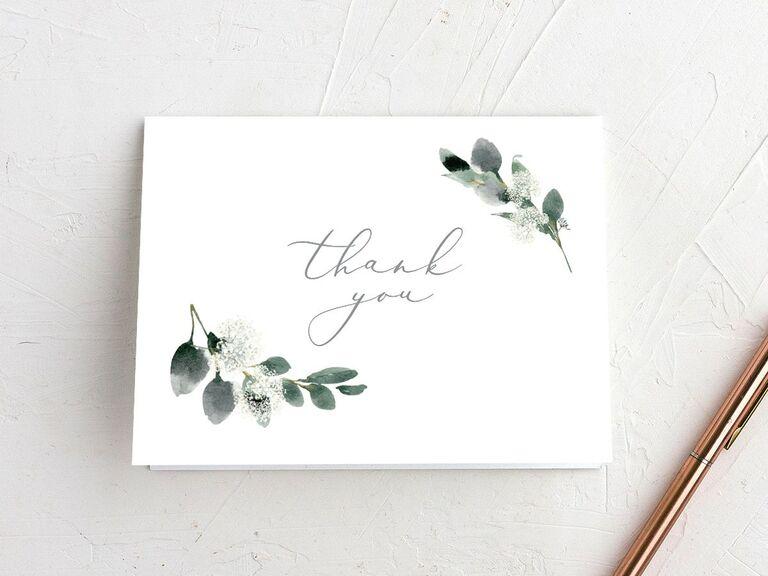 Minimalist greenery thank-you bridal shower card