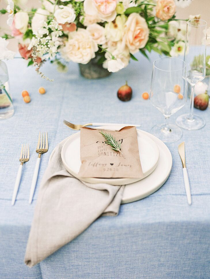 Elegant Place Setting with Blue Table Linens
