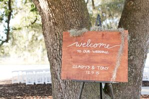 Wood Welcome Sign on Easel