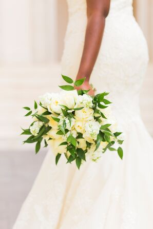 All-White Bouquet With Exposed Greenery