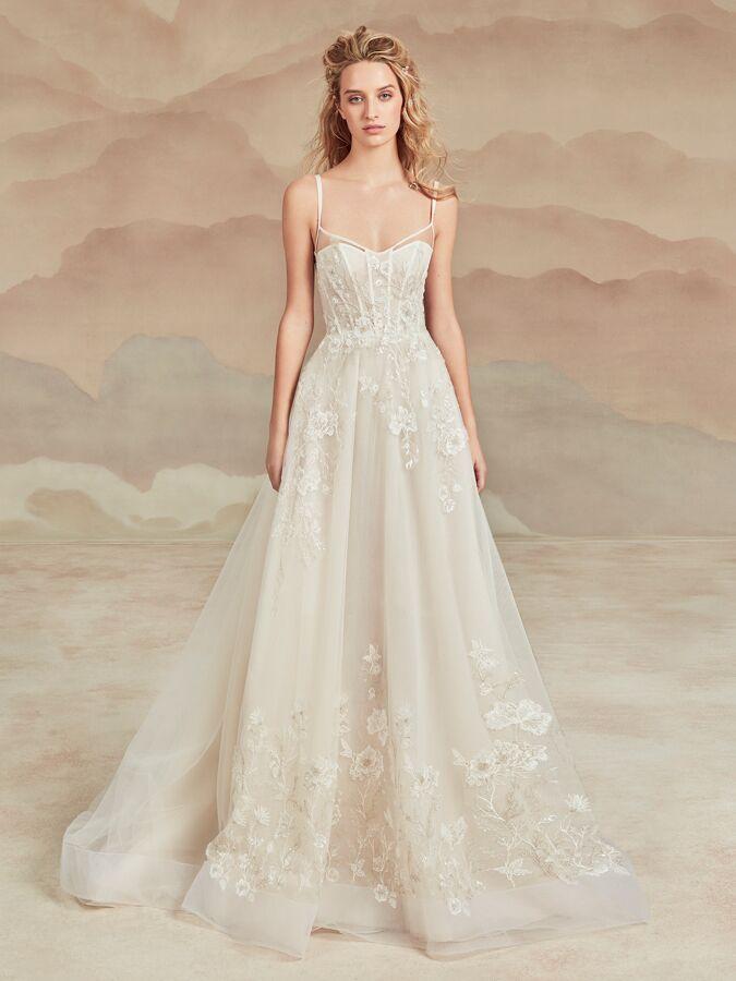 Ines Di Santo spaghetti strap A-line wedding dress