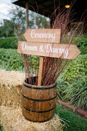 Neutral Wooden Arrow Wedding Signs in Barrel
