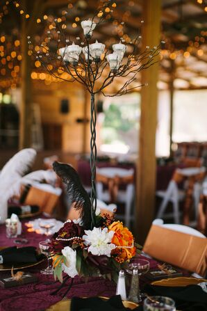 Black White Candelabra and Colorful Floral Halo