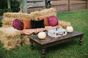 Hay Bale Couch with Vintage Accents