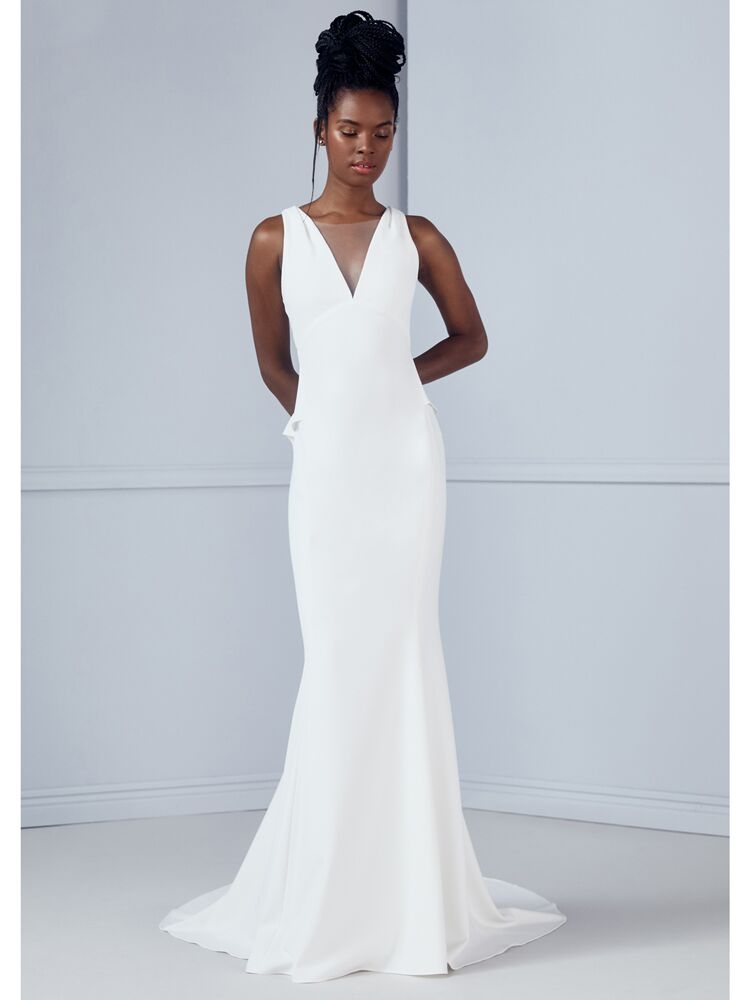 Amsale fit-and-flare wedding dress with peplum