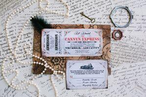 Vintage Train Ticket Invitation Suite