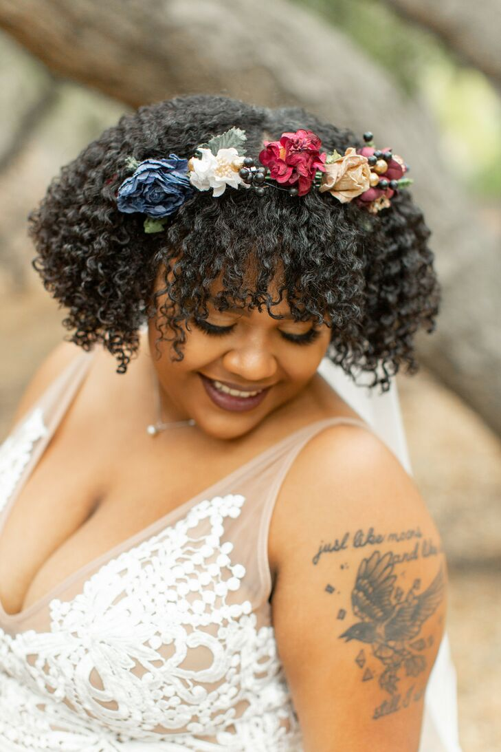 Bride with Faux Flowers in Her Hair