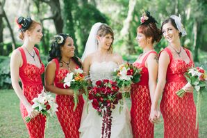 Red Lace Bridesmaid Dresses and Steampunk Headpieces