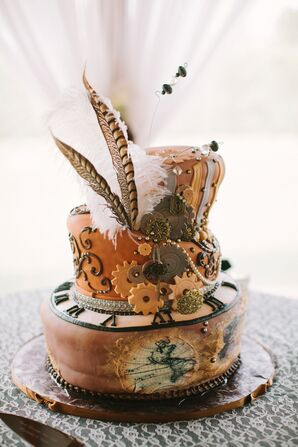 Intricately Detailed Tiered Wedding Cake with Gears
