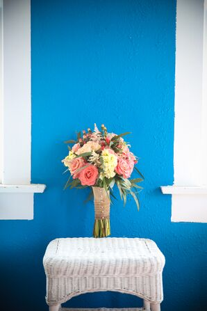 Rustic Blush and Ivory Bouquet, Burlap Wrap