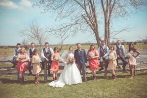 Casual, Rustic Gray and Coral Wedding Party Attir