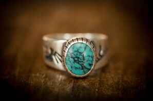 Groom's Silver Turquoise Wedding Ring
