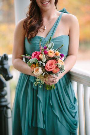 Teal Bridesmaid Dresses, Textured Bridesmaid Bouquets