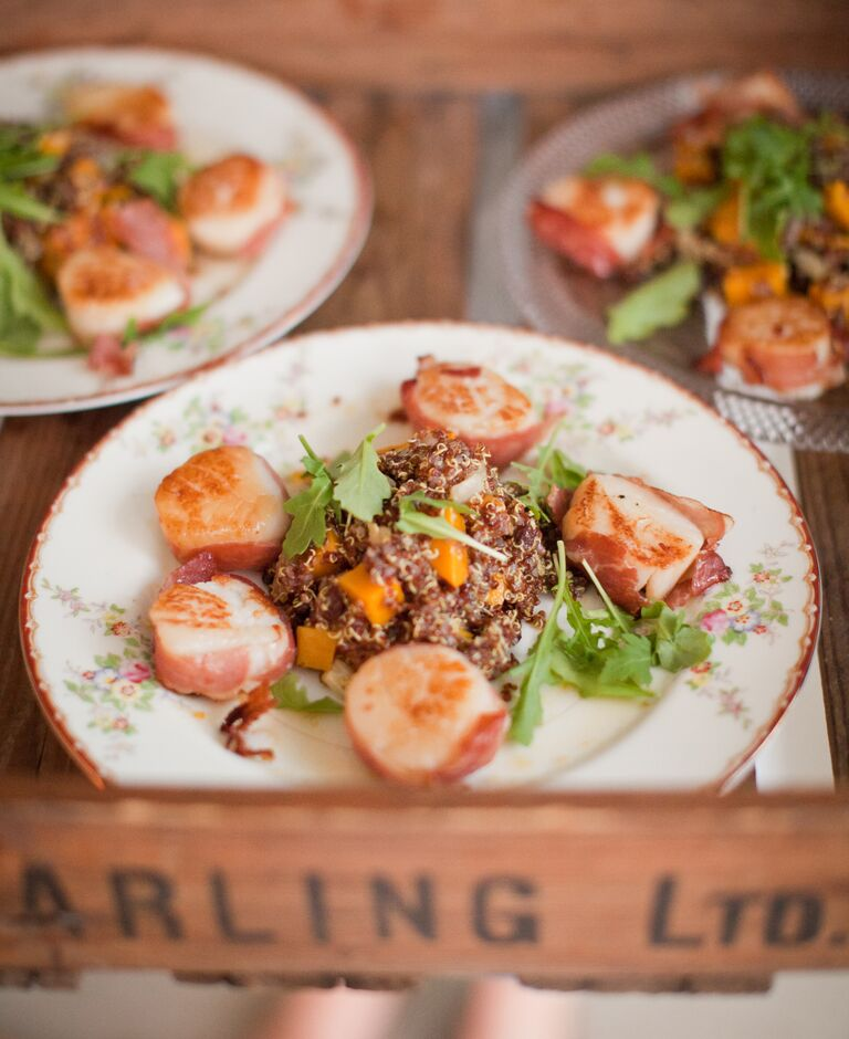 Bacon-wrapped scallop wedding catering
