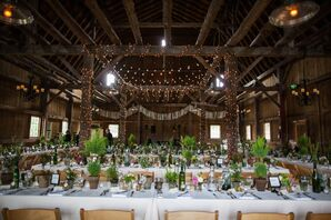 Rustic Green Succulent and String Light Reception at Garvey Family Wedding Barn