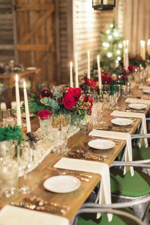 Christmas-Themed Tablescape for Wedding at Terrain at Styers in Glen Mills, Pennsylvania
