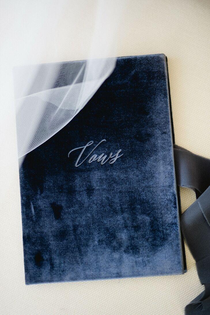 Elegant Navy Velvet Vow Book