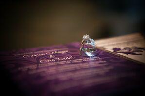 Wedding Rings with Purple Wedding Invitations