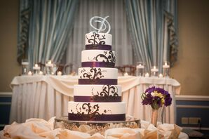 Purple and White Five Tiered Cake with Purple Trim