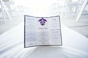 Formal Purple and White Wedding Programs