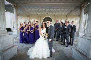 Purple and Dark Grey Wedding Party
