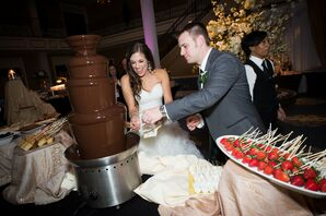 Delicious Strawberries in a Chocolate Fountain