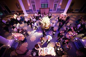 Elegant Ballroom Reception Hall with Purple Lighting