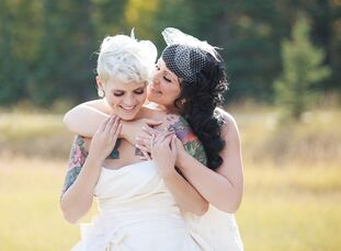 Morgan Hayley (26 and an administrator) and Nicole Dube (28 and an administrator) held their wedding in the