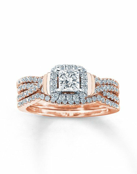 Kay Jewelers DIAMOND BRIDAL SET 1 CT TW PRINCESS CUT 14K ROSE GOLD Wedding Ri