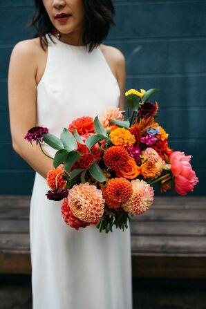 Bride With Wedding Bouquet in Philadelphia, Pennsylvania