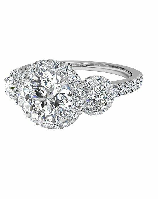 Ritani Three-Stone Halo Diamond Engagement Ring in Palladium (0.75 CTW) Engagement Ring photo