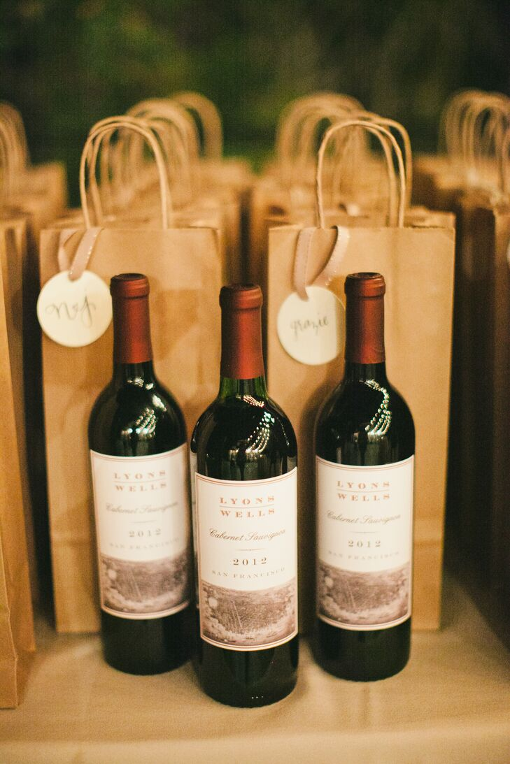 With the wedding taking place at a vineyard and Jordan having his own wine label, Lyon-Wells, it was only fitting that the couple send guests off with a bottle of wine at the end of the night. Each guest received a bottle of 2012 Lyon-Wells Cabernet Sauvignon.