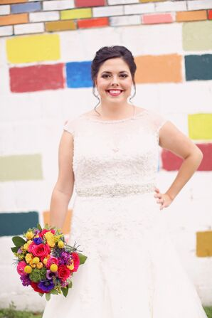 Bride in an Embroidered A-Line Wedding Dress