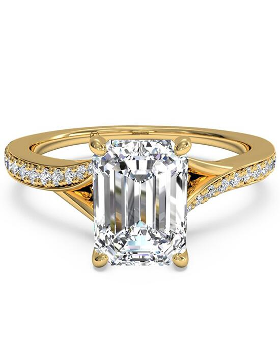 Ritani Modern Bypass Micropavé Diamond Band Engagement Ring - in 18kt Yellow Gold - (0.19 CTW) for a Emerald Center Stone Engagement Ring photo