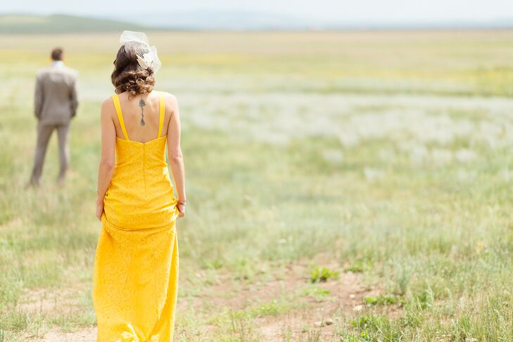 Untraditional Yellow Wedding Dress